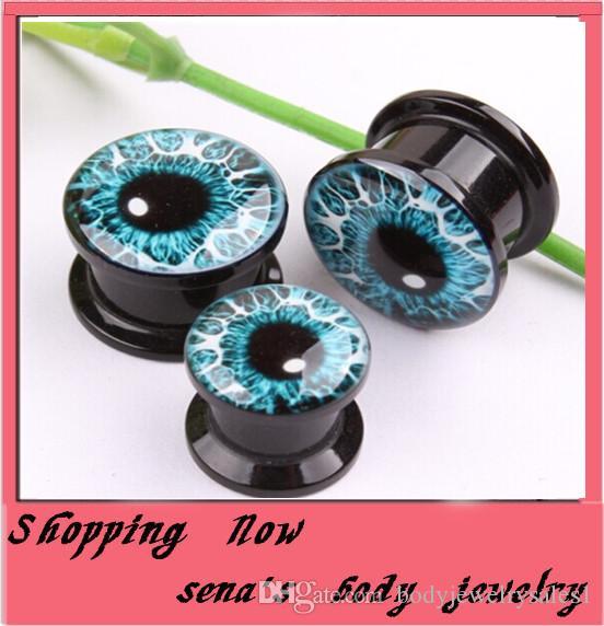 64 sztuk / partia Mix 4-16mm Niebieskie oczy Logo Esak Expander Body Piercing Kolczyk Mless Ear Plug Tunel