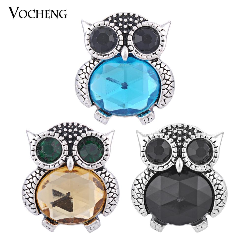 VOCHENG Noosa Yapış 3 Renkler Güzel Baykuş Snap Düğmesi Değiştirilebilir Popper Takı Aksesuar Zencefil Çırpıda Takı (Vn-560)