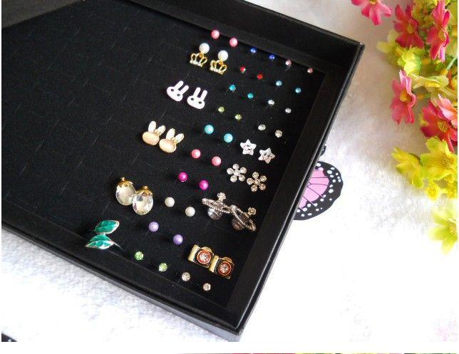 Scatola del titolare del display dei gioielli Orecchini di modo dell'angolo dell'organizzatore dell'organizzatore della cassa Nuovo nero 100 slot slot stoccaggio Scatole del display del perno dell'orecchio