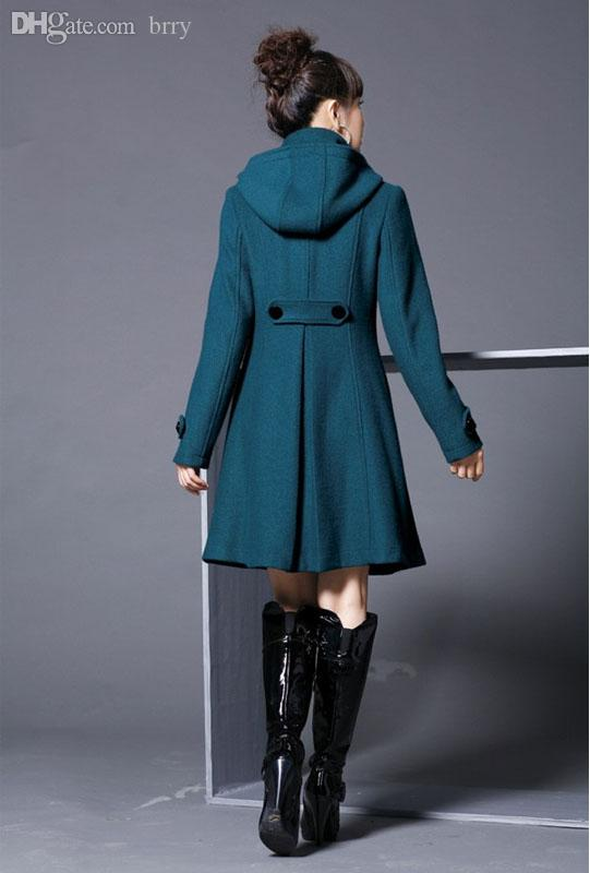 Groothandel-trenchcoats Womens Dames Mode Lange Dubbelborst Winterwol Lange Hooded Jas Bovenkleding Q1628