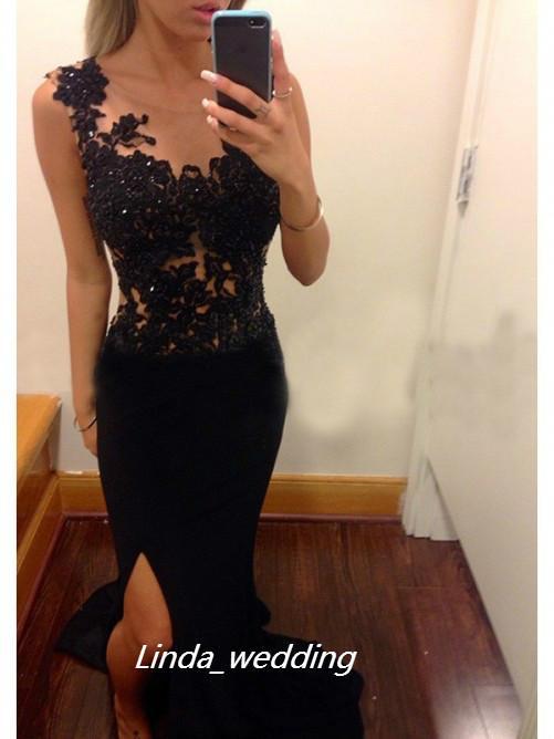 무료 배송 섹시 블랙 컬러 칼집 칼 특종 민소매 애플리케이트 스윕 브러시 기차 사이드 슬릿 긴 쉬폰 이브닝 드레스 여성 가운