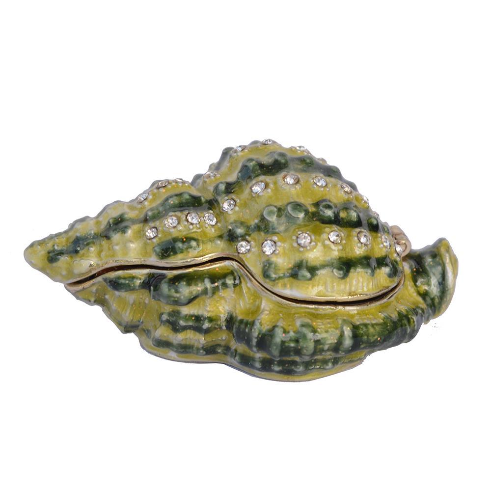 Green Sea scallop jóias caixa dobradiça de strass jóias dom casa decoração artesanato do vintage porta treco sealife para ela