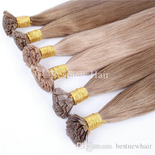 """LOUSO Keratin Düz Uç Saç Ön Önceden Yapılmış Saç Uzantıları 100G 18 """"20"""" 22 """"1G / S Hint Remy Düz Uç Saç Ekstansiyonu"""