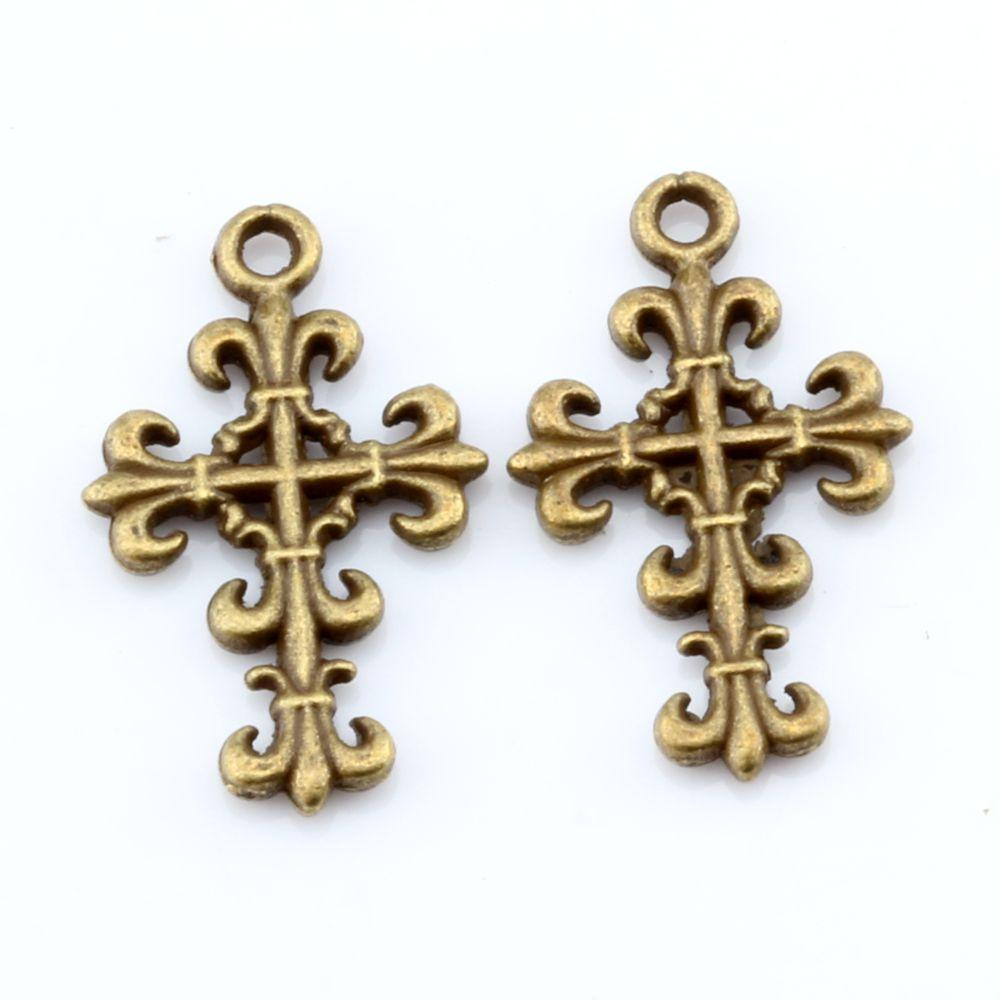 Hot ! 200pcs Antique Bronze Cross Charms Pendants 14mmx23mm DIY Jewelry