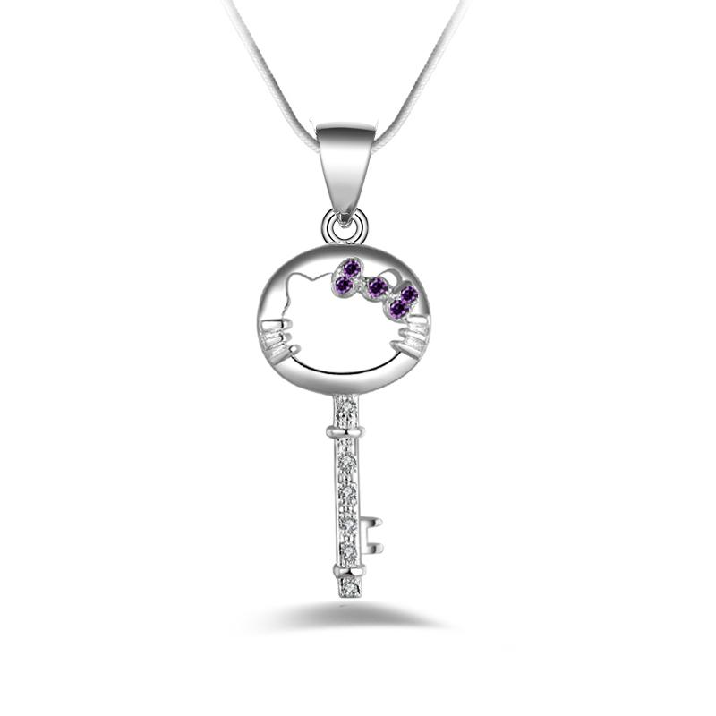 Free shipping fashion high quality 925 silverl cat Key Purple diamond jewelry 925 silver necklace Valentine's Day holiday gifts Hot 1699