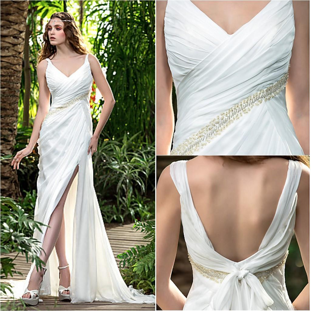 2016 New Fashion Popular Free Shipping Ivory Court Train V-neck Straps Backless Beading Chiffon Sheath Garden Wedding Dresses 169