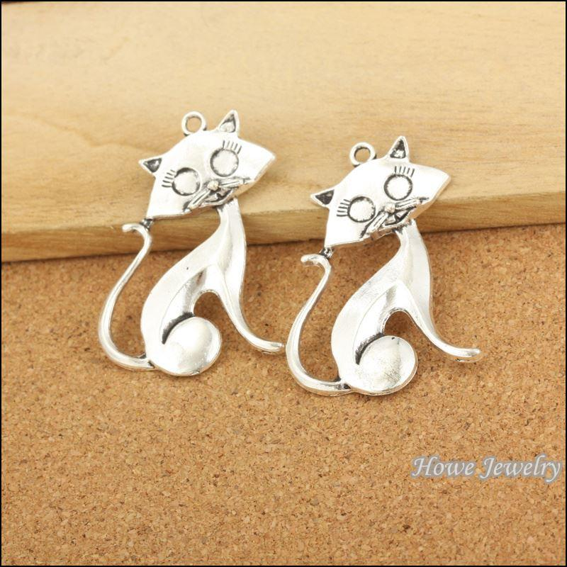 50 pcs Vintage Charms Cat Pendant Antique silver Fit Bracelets Necklace DIY Metal Jewelry Making 20062 metal love charm