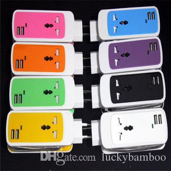 무료 DHL 3 in 1 듀얼 USB 포트 유니버설 소켓 벽 충전기 미국 벽면 플러그 어댑터 3.5 인치 태블릿 용 스마트 모바일 어댑터