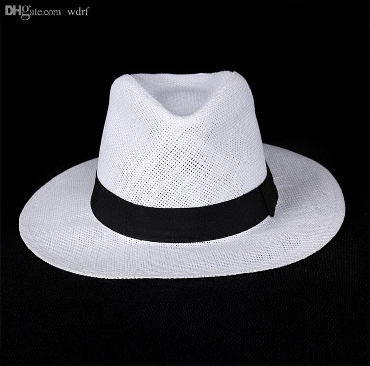 Wholesale-Unisex Fashion summer straw hat fedora beach sun hat solid white classic jazz panama hat straw hats For Women Men Free Shipping