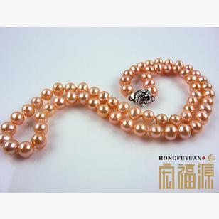 Wholesale beautiful 7-8 mm nearly round natural pearl necklace HFY-009