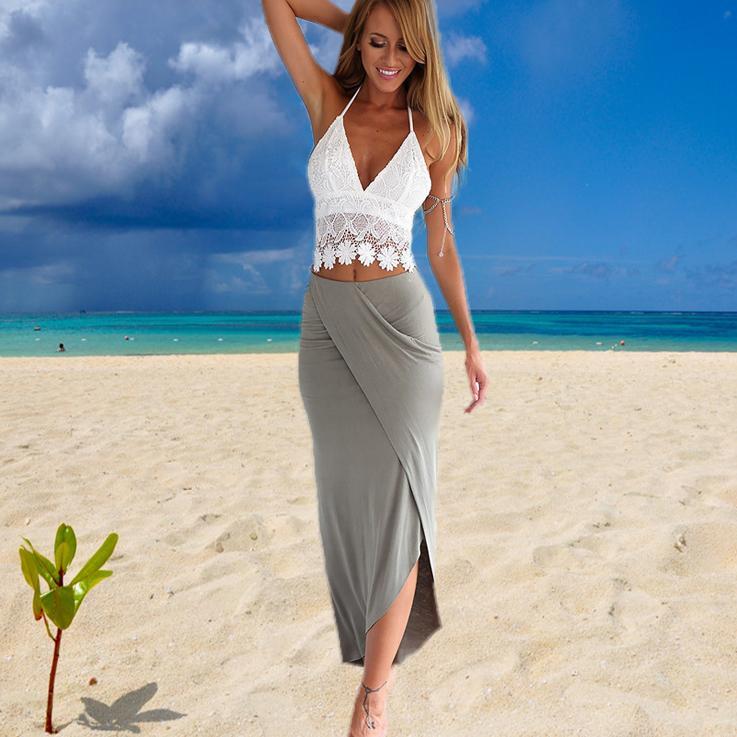 두 조각 드레스 여성 의류 패션 여름 bodycon 붕대 포장 캐주얼 레이스 싼 드레스 캐미솔 딥 V 고삐 미디 드레스