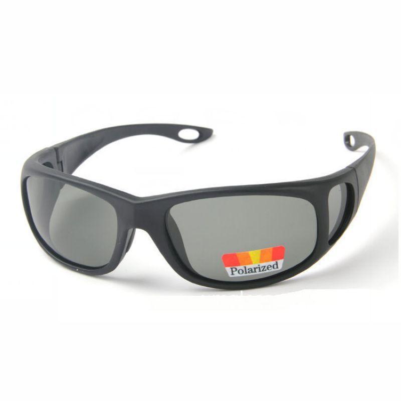 Polarized Fishing Mens Sunglasses Wrap Around Black Frame Black Polarised Lens Driving / Fish Glasses Eyewear Outlet For Men