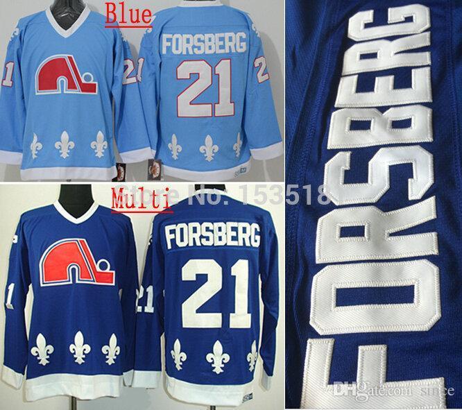 2016 Nieuwe, goedkope Heren Quebec Nordiques # 21 Peter Forsberg Jersey Groothandel CCM Vintage Aqua Blue Ice Hockey Jerseys S-3XL