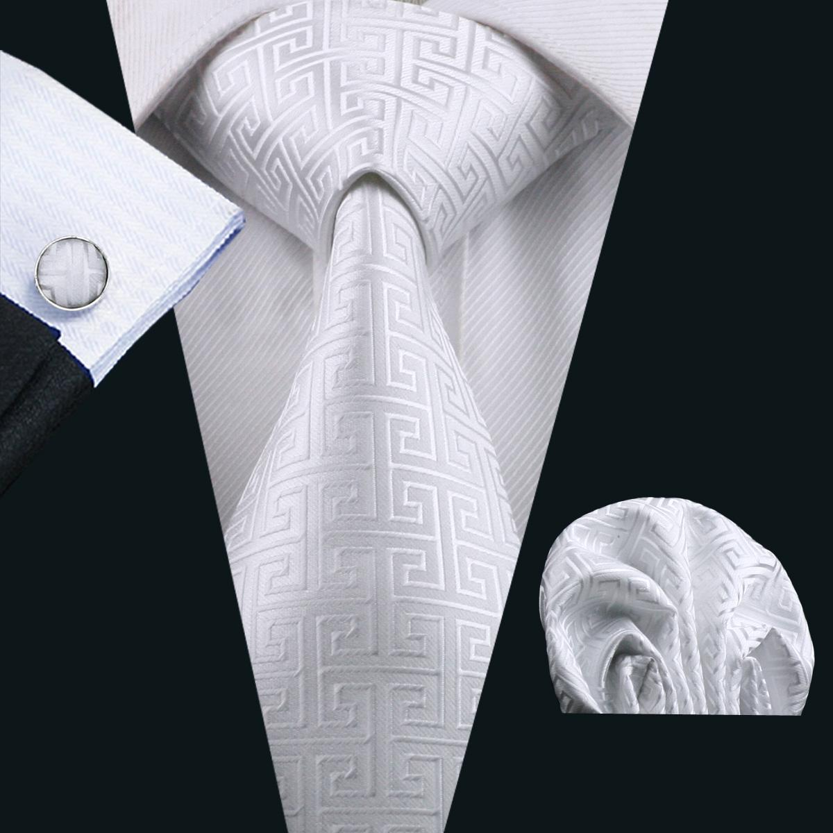 남자를위한 클래식 화이트 타이 세트 Hankerchief 커프스 단추 실크 자카드 직물 사업 공식적인 넥타이 8.5cm 캐주얼 N - 0643 세트