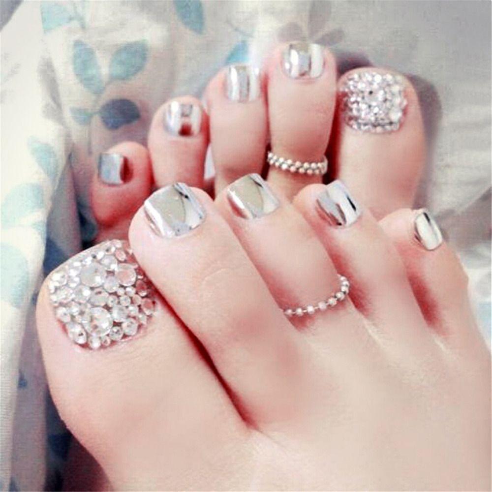 Wholesale- 24pcs Silver Foot False Nails Toenail Tablets Diamond ...