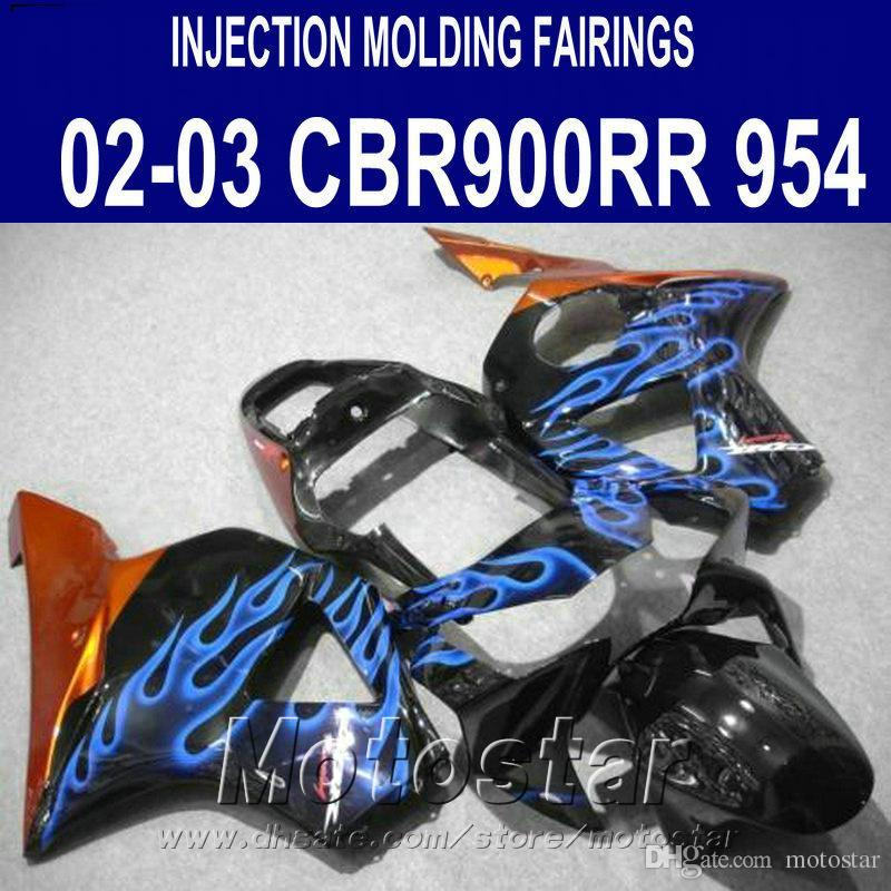 Injection molding Fairings set for Honda cbr900rr 954 2002 2003 blue flames black CBR900 954RR freeship fairing body kit CBR954 02 03 YR37
