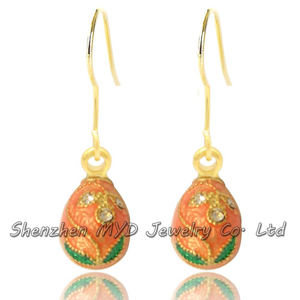 Handkleur Emaille Bloem Faberge Ei Oorbel Charm Zilver of Gold Plating Pasen Egg Dangle Drop Earring