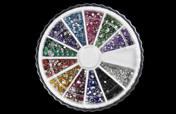 Wholesale-Bling Bling !! New Hot Sale 1MM 2000pcs 12 Colors Nail Art Rhinestones Decoration For UV Gel Acrylic Systems 4056