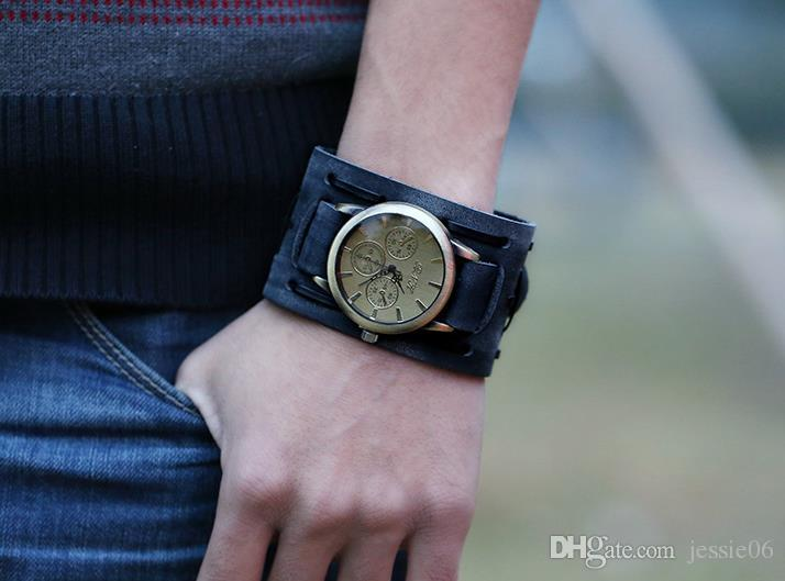 zapatillas compra original comprar popular Compre Reloj De Pulsera De Cuero Genuino De La Vendimia Punk Hombres  Adolescentes Reloj Pulsera De Cuarzo Brazalete Bangle Partido Festivo  Regalo ...