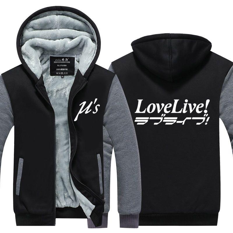lovelive Hoodie New Anime Cosplay amo Jacket Brasão vivo Inverno Men Zipper Moletons Thicken de lã com capuz Inverno capuz Tops Nova