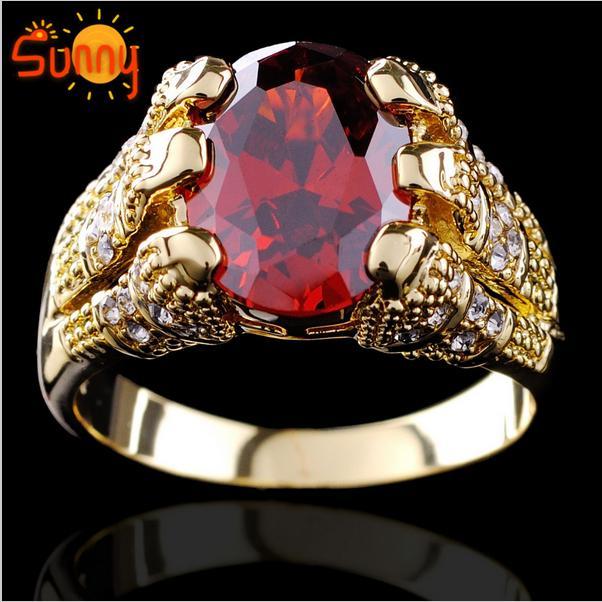 Wysokiej Jakości Biżuteria Brand New Ruby Męskie 10KT Żółty Złoto Wypełniony Pierścień Rozmiar9 / 10/11 / 12 1 PC Darmowa Wysyłka