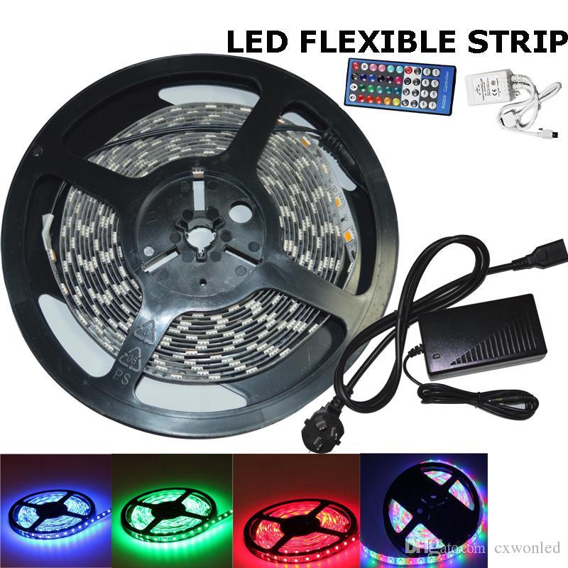 Icke-vattentäta 5M 300 LED-lampor SMD 5050 RGB-lampor LED-remsor 60 LED / M + Fjärrkontroll + 12V 5A Strömförsörjning med EU / AU / UK / US-kontakt