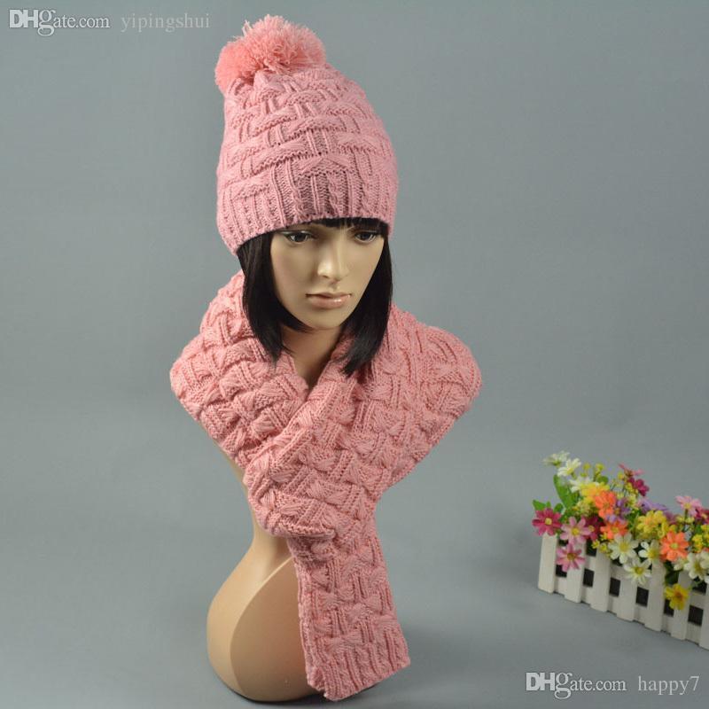 Wholesale-2015 Winter Beanie Scarf Set 2Pcs Women's Hat and Scarves Warm Thick Pink Beige Hats Caps Z-1337