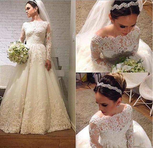 2017 Full Lace A Line Wedding Dresses with Illusion Long Sleeve ...