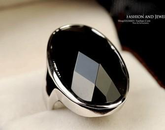 senhora de cristal preta de prata; tamanho do anel de s 6 7 8 9 (nnsssp)