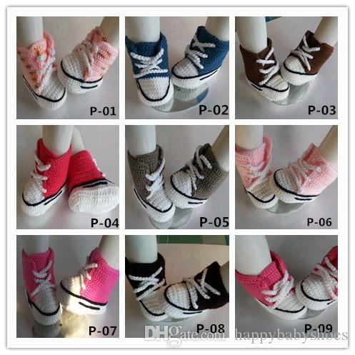2016 Baby crochet sneakers shoes zapato botines, 20 colores Handmade crochet sneaker sandalias de zapatos prewalker para niños pequeños / niños / bebés