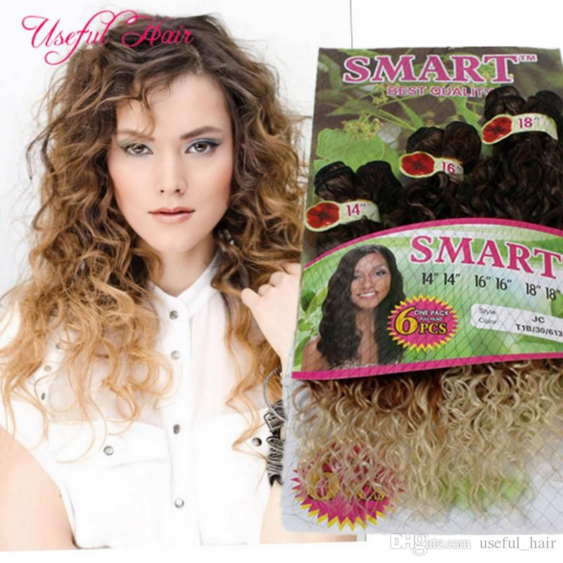 hot sell SMART BEST QUALITY synthetic weft hair ombre color 6PCS/LOT Jerry curl crochet hair extensions crochet braids hair weaves marley