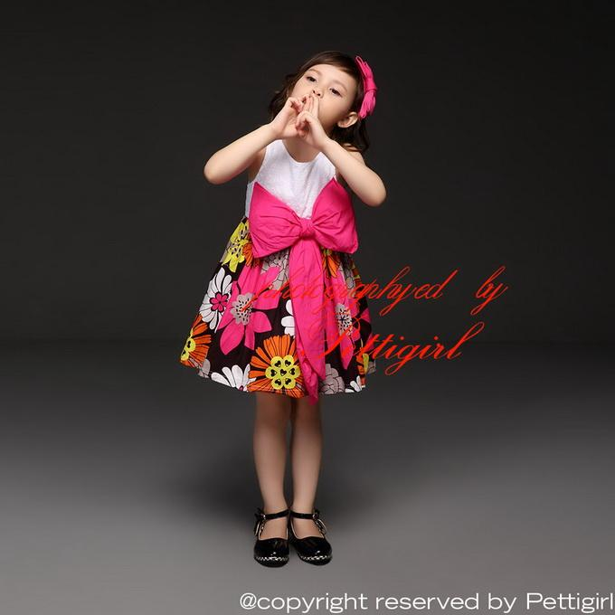 Pettigirl الجديد مصمم فستان بنات الصيف الأحمر 3D زهرة مطبوعة اللباس المتضخم الانحناء للأطفال عارضة فساتين حزب ملابس أطفال GD40514-3