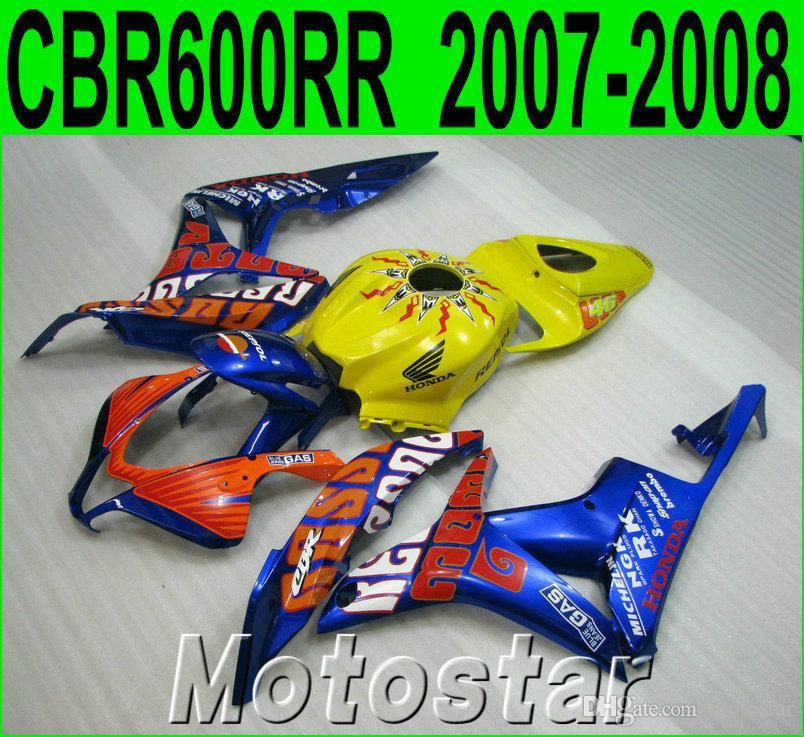 High quality fairing kit for HONDA Injection molding CBR600RR 2007 2008 blue yellow CBR 600 RR F5 07 08 fairings set LY43