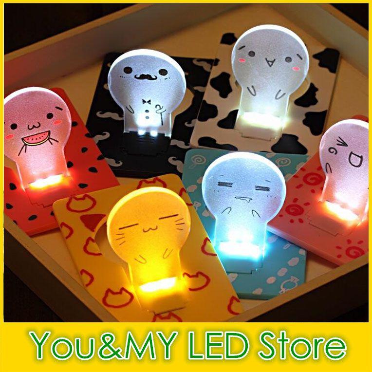 Cartão Mini Lâmpada LED Com Luzes Da Lâmpada Berth Unplugged Pequenas Luzes Da Noite LED 100 pcs muito Criativo Nightlight Portátil Cartão Bonito Estilo lâmpada