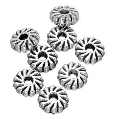 Groothandel 800 x 8 mm Tibetaans zilver metalen ronde dubbelzijdige bloem spacer kralen gratis verzending