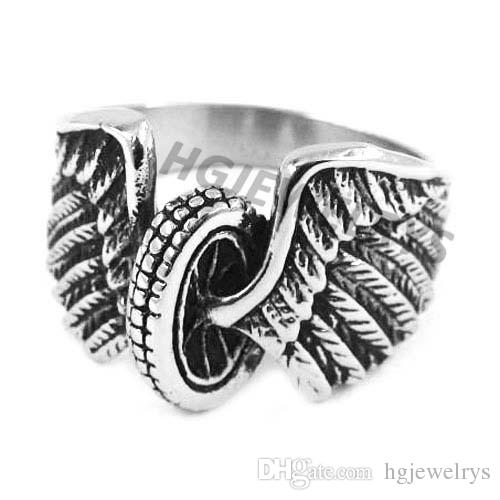Free shipping! Eagle Wings Motorcycles Tire Biker Ring Stainless Steel Jewelry New Design Fashion Motor Biker Men Ring SWR0313H