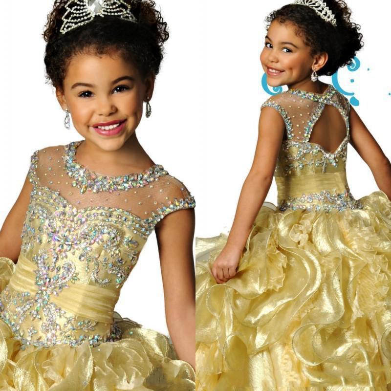 2019 Yeni Littele Kızlar Pageant Elbiseler Sheer Ekip Ile Boyun Çizgisi Organze Boncuklu Kristaller Dantelli Ruffles Çiçek Kız Elbise Custom Made
