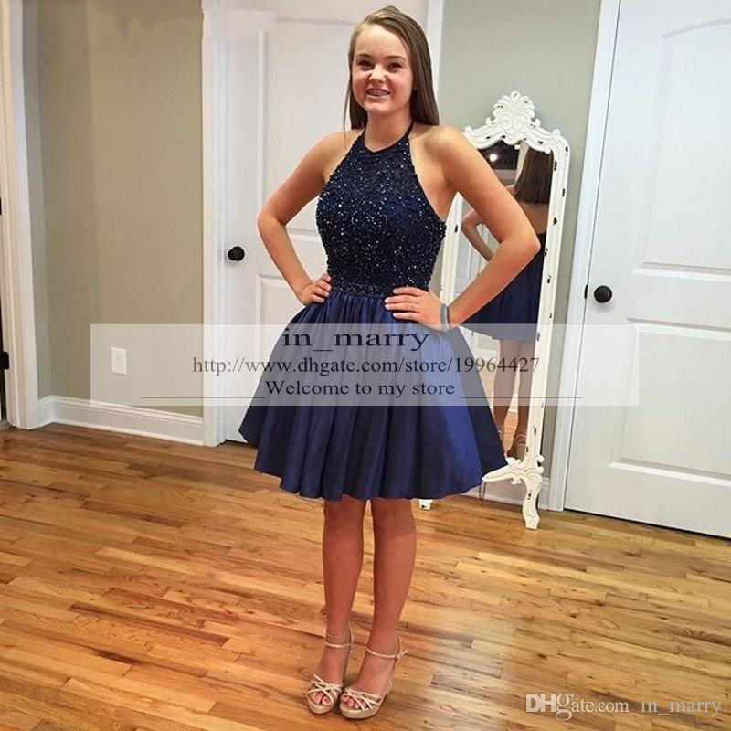 2016 Sparkly Navy Blue Short Beaded Prom Dresses A Line Keyhole Back ...