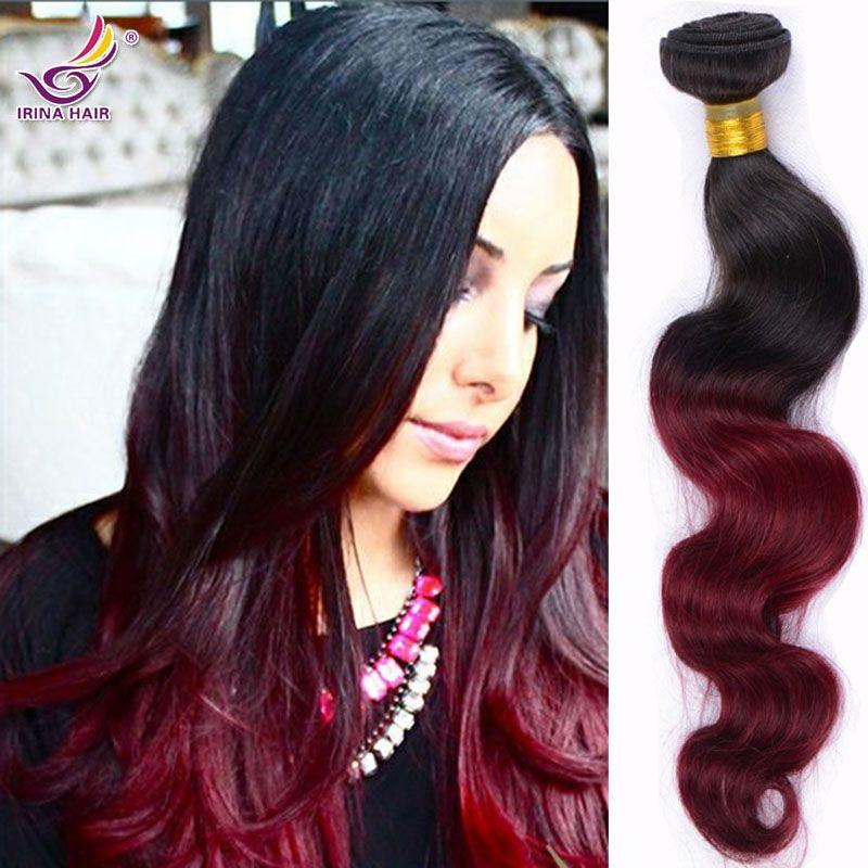 Ombre наращивание волос ткать пучки ombre бордовый 1B 99j объемная волна черный и красный два тона 4шт необработанные человеческие волосы индийские девственные волосы