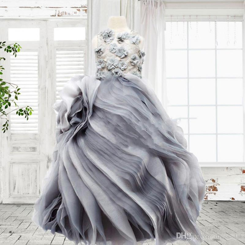 Real Photos 2018 Silver Grey Organza Princess Flower Girl Dresses For Wedding Pageant Gowns With Hand Made 3D Floral Applique EN11213