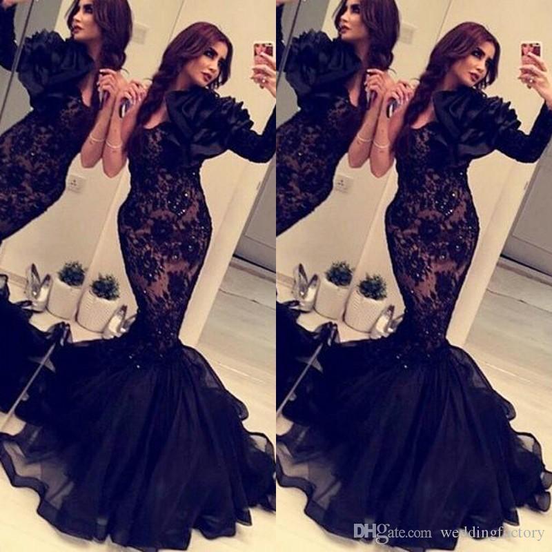 Elegancka Czarna Koronka Tulle Syrenka Prom Dresses Sexy Sweetheart Neck One Sleeve Oversize Handmade Fit Fit and Flare Pageant Suknie wieczorowe