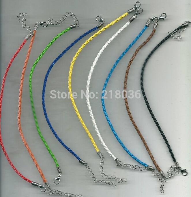 10 Color Vintage Silvers corchete de la langosta de la trenza de cuero pulseras del encanto buena suerte BraceletsBangle para el grano DIY joyería de moda nuevo 50 unids L839