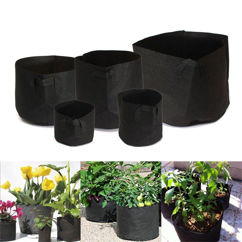 جولة الحاويات الزهرية الإبداعية الأقمشة غير المنسوجة تنمو حقيبة لزرع لوازم الحدائق العملية 55sj C R الأسود