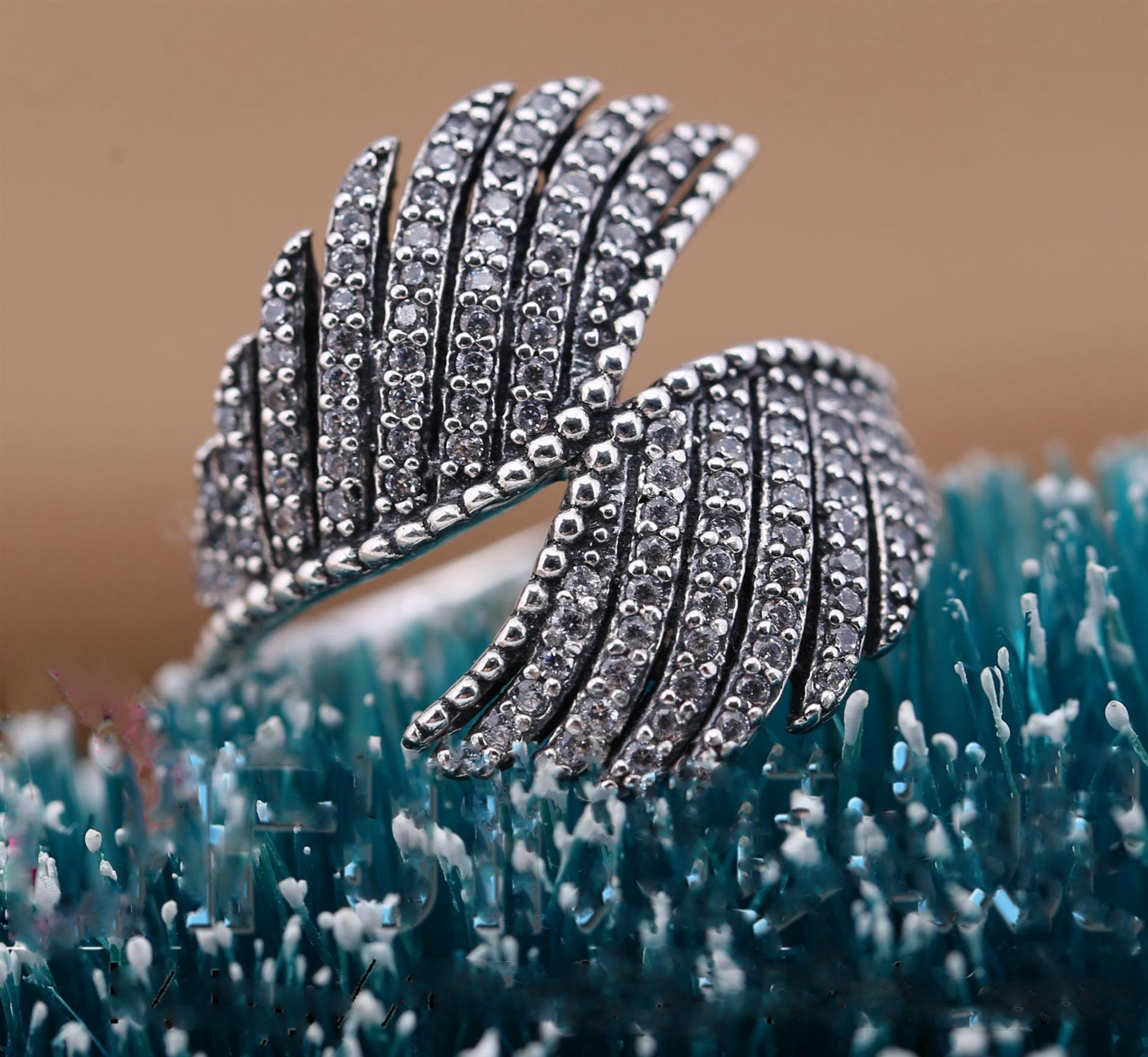 Vintage Feather rings 100% 925 sterling silver & cubic zirconia 20116 Newest European DIY fashion rings fits for pandora charms jewelry