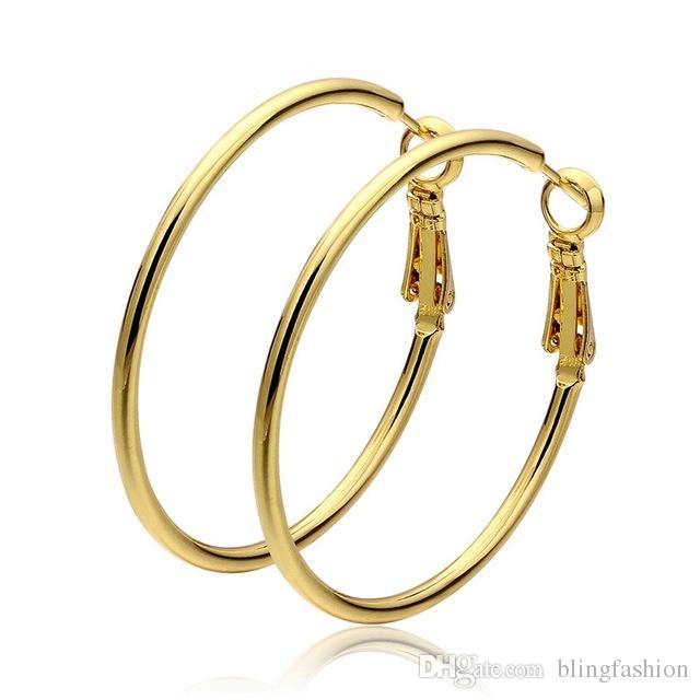 Suave Sólido 18k Ouro Amarelo Cheio Brincos de Argola para As Mulheres Grande Grande Loop Círculo Brinco Moda Jóias