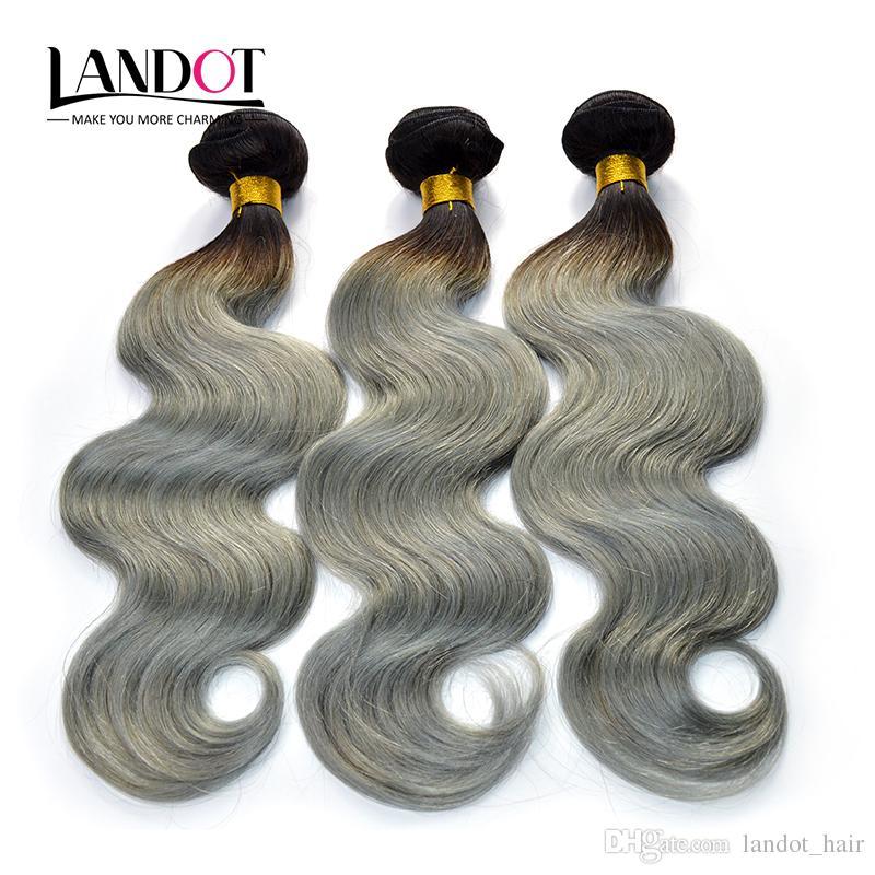 Ombre argento grigio estensioni dei capelli umani due toni 1B / grigio brasiliano peruviano malese indiano cambogiano onda del corpo vergine fasci di tessuto dei capelli