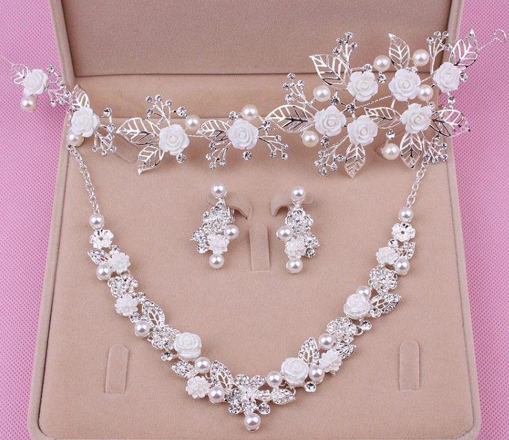 Envío libre de la venta caliente de la joyería nupcial de aleación de moda de tres piezas collar corona de dama de honor vestido de boda accesorios shuoshuo6588