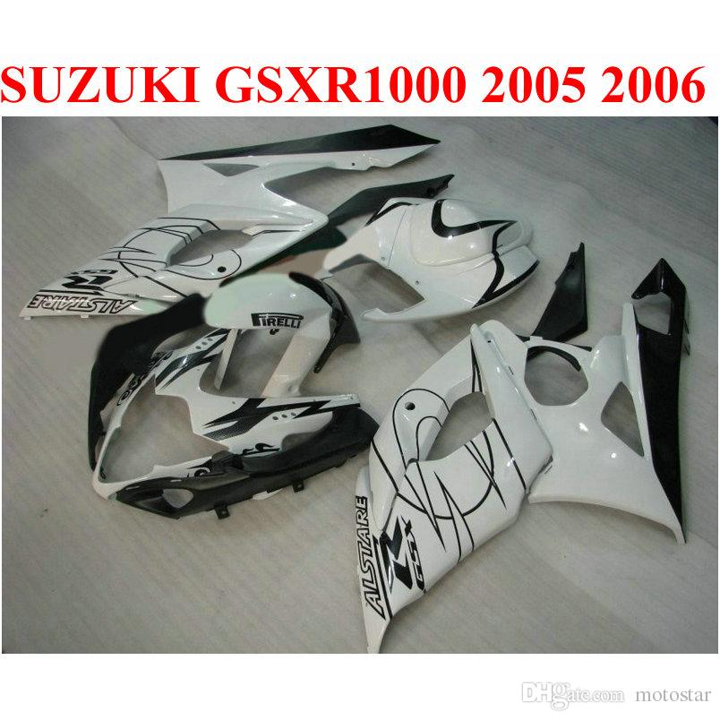 Perfect Fit для Suzuki 2005 2006 GSXR 1000 K5 K6 Комплект обтекателя GSX-R1000 05 06 GSXR1000 белый черный Corona ABS CTANGES SET QF62