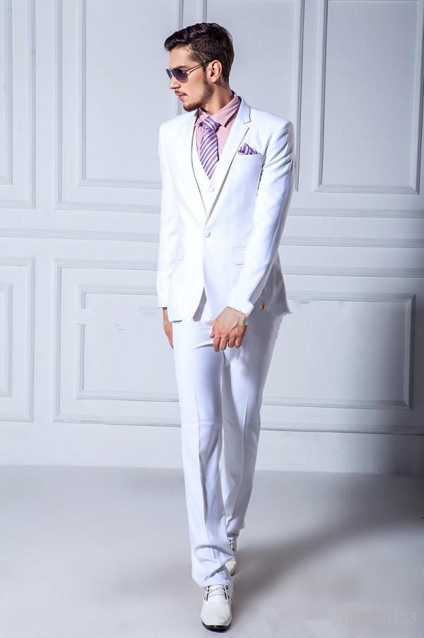 도매 - 잘 생긴 화이트 웨딩 맨 양복 신랑 턱시도 3 피스 원 버튼 파프리카 옷깃 캐주얼 디너 저녁 파티 댄스 파티 베스트