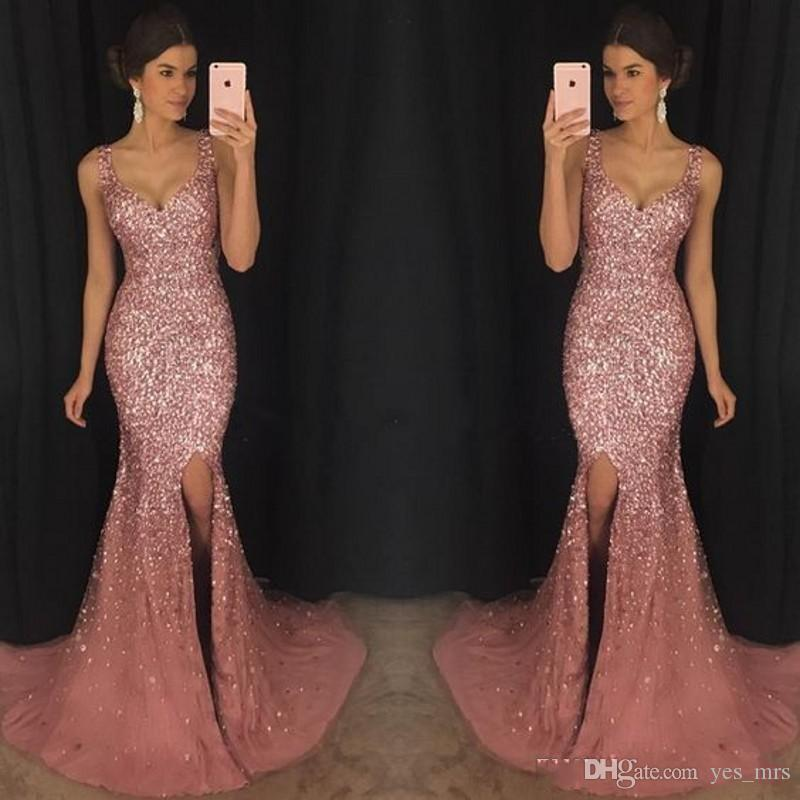 Luxury Rose Pink Bling V Neck Mermaid Formal Prom Dresses Crystal Beaded Pageant Dress Major Beading Split Sweep Train Evening Dress Wear